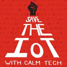 Cartoon fist with words 'Save the IOT with calm tech'