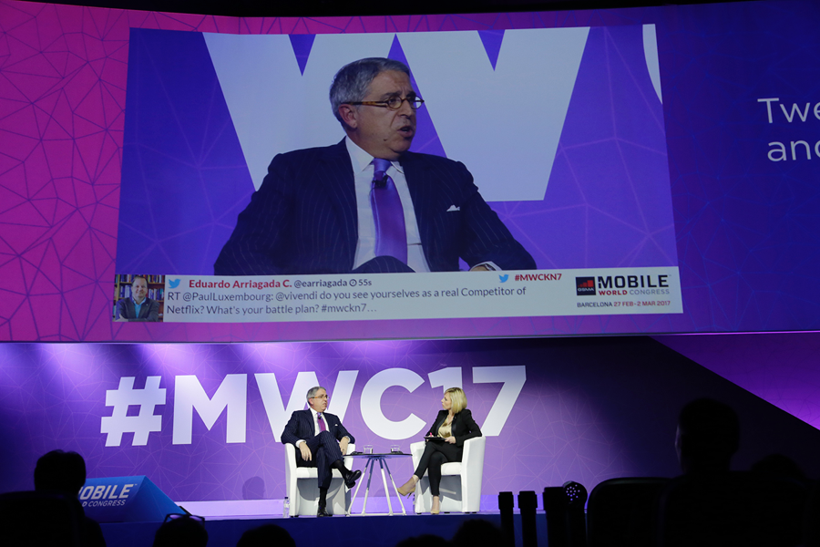 "Arnaud de Puyfontaine, CEO of Vivendi, speaks at ""Content Gold Rush"" Keynote at MWC"