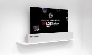 "LG's 65"" rollable OLED TV was launched at CES 2017"
